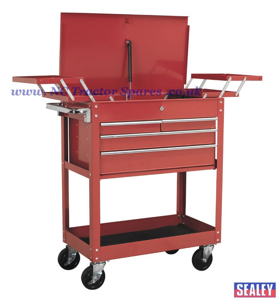 Extra Heavy-Duty Trolley 2-Level with 4 Drawers & Cantilever Trays